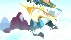 Size: 1920x1080   Tagged: safe, screencap, once upon a zeppelin, airship, cloud, loudspeaker, no pony, vehicle, zeppelin