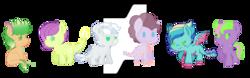 Size: 900x282   Tagged: safe, artist:lightzgc, oc, oc only, oc:amazonite burn, oc:celadine freesia, oc:raspberry quartz, oc:serendibite ray, oc:shielded spark, oc:winesap ignition, dracony, hybrid, interspecies offspring, offspring, parent:applejack, parent:fluttershy, parent:rarity, parent:spike, parent:twilight sparkle, parents:applespike, parents:flutterspike, parents:pinkiespike, parents:rainbowspike, parents:sparity, parents:twispike