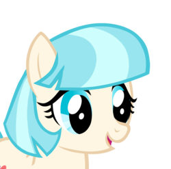 Size: 600x593 | Tagged: artist:cm26, coco pommel, derpibooru exclusive, open mouth, safe, simple background, smiling, solo, transparent background