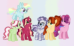 Size: 2544x1564 | Tagged: alicorn, alicorn oc, artist:crayoncreates, earth pony, hybrid, interspecies offspring, magical lesbian spawn, oc, oc:apple custard, oc:beau, oc:cake pop, oc:crisp care, oc only, oc:sparkling cider, oc:spectrum whisp, offspring, parent:applejack, parent:cherry jubilee, parent:flam, parent:flim, parent:fluttershy, parent:pinkie pie, parent:rainbow dash, parent:rarity, parents:cherryjack, parents:flamshy, parents:flimsparkle, parents:raricora, parents:sugarpie, parent:sugar belle, parents:vapordash, parent:twilight sparkle, parent:vapor trail, parent:zecora, pegasus, pony, rainbow hair, safe, unicorn, zony