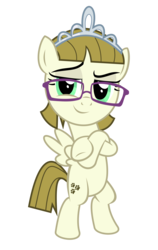 Size: 4690x7430 | Tagged: safe, artist:kuren247, zippoorwhill, pegasus, pony, absurd resolution, bipedal, cool, crossed arms, crossed hooves, crown, female, filly, glasses, jewelry, regalia, simple background, smiling, smirk, smug, solo, tiara, transparent background, vector