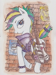 Size: 715x961   Tagged: safe, artist:daisymane, rarity, pony, unicorn, it isn't the mane thing about you, alternate hairstyle, bad guitar anatomy, bass guitar, clothes, female, guitar, looking back, mare, musical instrument, punk, raripunk, short hair, smiling, solo, traditional art