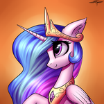 Size: 3000x3000 | Tagged: alicorn, artist:setharu, bust, crown, ear fluff, female, high res, jewelry, looking up, mare, pony, princess celestia, raised hoof, regalia, safe, signature, smiling, solo