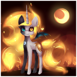 Size: 1024x1024 | Tagged: safe, artist:nutellaakanutella, daybreaker, nightmare moon, alicorn, pony, cute, female, fusion, heterochromia, looking at you, mare, smiling, solo