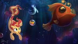 Size: 3556x2000 | Tagged: safe, artist:light262, peewee, sonata dusk, sunset shimmer, angler fish, fish, phoenix, seapony (g4), siren, unicorn, my little pony: the movie, eyes closed, female, irony, not fiery shimmer, open mouth, phoenix chick, seaponified, seapony sunset, smiling, species swap, swimming, underwater