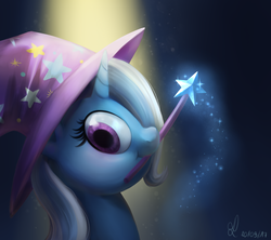 Size: 1800x1600 | Tagged: safe, artist:divlight, trixie, pony, bust, clothes, cute, diatrixes, female, hat, mouth hold, portrait, solo, trixie's hat, wand