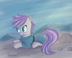 Size: 2796x2286 | Tagged: safe, artist:brok-enwings, maud pie, earth pony, pony, alternate hairstyle, blushing, cute, female, mare, maudabetes, prone, smiling, solo