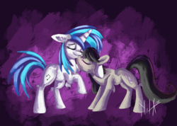 Size: 1240x885 | Tagged: 30 minute art challenge, artist:raramila, blushing, dj pon-3, earth pony, eyes closed, lesbian, octavia melody, pony, safe, scratchtavia, shipping, smiling, unicorn, vinyl scratch