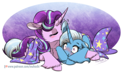Size: 1024x614 | Tagged: safe, artist:inuhoshi-to-darkpen, starlight glimmer, trixie, pony, unicorn, blushing, cape, clothes, cuddling, eyes closed, female, hat, lesbian, mare, nuzzling, shipping, simple background, startrix, transparent background, trixie's cape, trixie's hat, unshorn fetlocks
