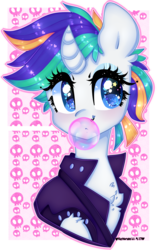 Size: 2553x4000 | Tagged: safe, artist:bunxl, rarity, pony, it isn't the mane thing about you, alternate hairstyle, bubblegum, clothes, curved horn, female, food, gum, jacket, mare, punk, raripunk, solo