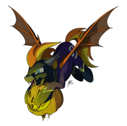 Size: 2008x2000 | Tagged: safe, artist:hexfloog, oc, oc only, oc:blaze (shadowbolt), bat pony, clothes, commission, costume, fangs, halloween, holiday, jack-o-lantern, male, pumpkin, shadowbolts, shadowbolts costume, simple background, solo, spread wings, stallion, transparent background, wings