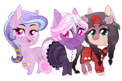Size: 1132x754   Tagged: safe, artist:koitsune, oc, oc only, oc:dahlia, oc:ophelia, oc:succulent scent, crystal pony, pony, chibi, circlet, clothes, dress, eyeshadow, female, flower, flower in hair, jewelry, lolita fashion, looking at you, makeup, mare, stockings, thigh highs, trio, twins