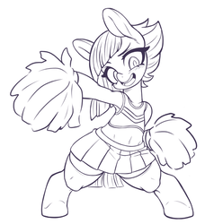 Size: 790x830 | Tagged: safe, artist:kaikoinu, limestone pie, earth pony, pony, armpits, bipedal, cheering, cheerleader, clothes, female, mare, monochrome, open mouth, pom pom, simple background, socks, solo, white background
