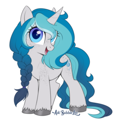Size: 2713x2840 | Tagged: artist:askbubblelee, body freckles, cute, female, freckles, looking at you, mare, oc, oc:bubble lee, oc:imago, oc only, open mouth, pony, safe, simple background, smiling, solo, transparent background, unicorn