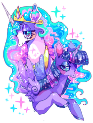 Size: 600x800 | Tagged: alicorn, artist:njeekyo, blushing, color porn, crown, eyeshadow, female, jewelry, lesbian, looking at you, makeup, princess celestia, regalia, safe, shipping, simple background, twilestia, twilight sparkle, twilight sparkle (alicorn), wings