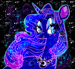 Size: 553x508 | Tagged: alicorn, artist:njeekyo, eyeshadow, looking at you, makeup, princess luna, safe, solo