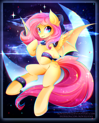 Size: 2169x2687 | Tagged: artist:koveliana, bat pony, bow, chromatic aberration, color porn, crescent moon, cute, female, flutterbat, fluttershy, hair bow, looking at you, mare, moon, pony, race swap, safe, shyabates, shyabetes, smiling, solo