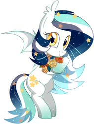 Size: 602x791 | Tagged: artist:owlity, bat pony, female, flower, looking at you, mare, oc, oc:wistful galaxy, safe