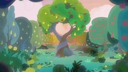 Size: 1920x1080 | Tagged: safe, edit, edited screencap, screencap, the perfect pear, apple tree, background, intertwined trees, no pony, pear tree, scenery, scenery porn, sundown, tree