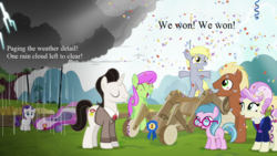 Size: 1280x720 | Tagged: blue lily, cart, confetti, derpy hooves, edit, edited screencap, female, filly, filly derpy, filly rarity, meadow song, medallion gold, merry may, rain, rarity, rosetta, safe, screencap, text, the cart before the ponies, younger