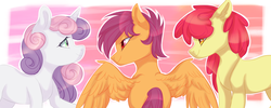 Size: 1920x768 | Tagged: apple bloom, artist:shininglovelystar, cutie mark crusaders, earth pony, group, pegasus, pony, safe, scootaloo, sweetie belle, trio, unicorn