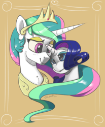 Size: 2500x3022 | Tagged: safe, artist:silverhopexiii, princess celestia, rarity, alicorn, pony, unicorn, duo, female, lesbian, mare, rarilestia, shipping