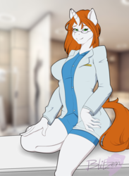 Size: 3300x4500 | Tagged: anthro, anthro oc, artist:blitzenoo, breasts, clothes, commission, glasses, looking at you, nurse, oc, oc only, safe, smiling, unicorn, ych result