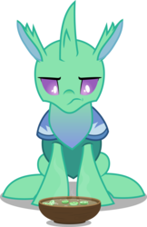 Size: 5358x8273 | Tagged: absurd res, artist:chrzanek97, changeling, food, looking down, safe, simple background, sitting, solo, soup, soupling, to change a changeling, transparent background, vector