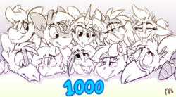 Size: 2422x1340 | Tagged: artist:ralek, bat pony, blushing, derpibooru, derpibooru exclusive, ear piercing, fangs, freckles, gauges, gradient background, griffon, group photo, group shot, horn, looking at you, meta, milestone, milestone celebration, monochrome, oc, oc:alhazred, oc:digital import, oc:hazelnut, oc only, oc:passel, oc:ralek, oc:sapphire sights, oc:swift note, oc:teacup cake, oc:turquoise, oc:twinkie dink, pegasus, piercing, pony, safe, signature, text, tongue out, unicorn, zebra, zebra oc
