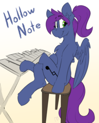 Size: 3168x3918 | Tagged: artist:ralek, bench, gradient background, looking back, oc, oc:hollownote, oc only, pegasus, pony, ponytail, safe, solo, xylophone