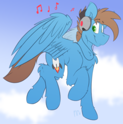 Size: 3298x3319 | Tagged: safe, artist:ralek, oc, oc only, oc:orbital tone, pegasus, pony, cloud, cutie mark, flying, headphones, music, music notes, signature, simple background, sky, solo