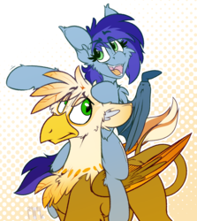 Size: 1406x1575 | Tagged: safe, artist:ralek, oc, oc only, oc:blue bat, oc:ember burd, bat pony, griffon, abstract background, bat wings, colored wings, cute, eared griffon, eyeroll, fangs, gradient wings, pointing, ponies riding griffons, riding, size difference