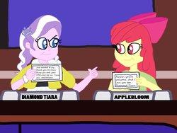 Size: 1032x774 | Tagged: safe, artist:ktd1993, apple bloom, diamond tiara, equestria girls, diamondbloom, female, lesbian, match game (game show), shipping