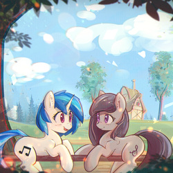 Size: 900x900 | Tagged: safe, artist:mirroredsea, dj pon-3, octavia melody, vinyl scratch, earth pony, pony, unicorn, alternate hairstyle, blushing, chromatic aberration, cloud, cropped, cute, duo, eye contact, featured image, female, fence, house, looking at each other, mare, missing accessory, open mouth, outdoors, prone, scenery, sky, smiling, sweet dreams fuel, tavibetes, tree, village, vinylbetes