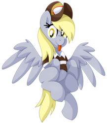 Size: 1663x1920 | Tagged: artist:pearlyiridescence, clothes, cute, derpabetes, derpy hooves, flying, hat, mailmare, :p, safe, shirt, simple background, spread wings, tongue out, transparent background, wings