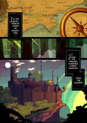 Size: 1000x1407 | Tagged: safe, artist:lumo, comic:lumo's pony academy, fanfic:where the world ends, academy, castle, cliff, comic, compass, engrish, forest, map, pony academy (chapter 1), text