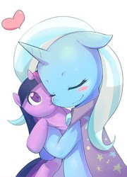 Size: 711x989 | Tagged: safe, artist:siagia, edit, trixie, twilight sparkle, cropped, cute, diatrixes, female, lesbian, mare, plushie, shipping, simple background, twixie, white background