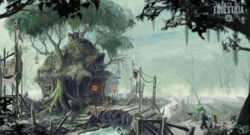 Size: 2000x1081 | Tagged: safe, artist:nemo2d, oc, oc only, oc:littlepip, pony, unicorn, fallout equestria, ashes of equestria, bridge, clothes, concept art, female, fluttershy's cottage, gun, magic, mare, overmare studios, scenery, scenery porn, skull, torch, tree, vault suit, weapon