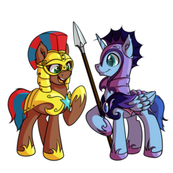 Size: 1024x1024 | Tagged: safe, artist:witchtaunter, oc, oc only, oc:northern shield, oc:star wing, alicorn, earth pony, pony, alicorn oc, duo, ear fluff, guard, looking at each other, male, night guard, royal guard, simple background, smiling, spear, stallion, transparent background, weapon