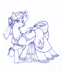Size: 2304x2672 | Tagged: safe, artist:longinius, rarity, pony, unicorn, alternate hairstyle, clothed ponies, clothes, dress, female, jewelry, lidded eyes, lineart, looking at you, mare, monochrome, necklace, raised hoof, sketch, smiling, sparkles, veil