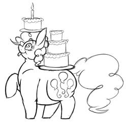 Size: 631x609 | Tagged: safe, artist:snickerdoodle-mod, pinkie pie, earth pony, cake, candle, carrying, cute, fat, female, food, large butt, monochrome, profile, pudgy pie, simple background, sketch, smiling, solo, tongue out, white background