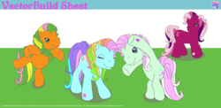 Size: 5745x2813 | Tagged: artist needed, safe, cherry blossom (g3), minty, rainbow dash (g3), pony, bipedal, g3, simple background, transparent background, unnamed pony, updated image