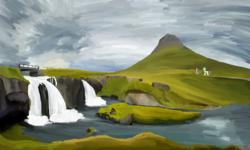 Size: 5000x3000   Tagged: safe, artist:wax-42, princess celestia, zecora, alicorn, pony, zebra, bridge, hill, mountain, nature, oil painting, painting, scenery, traditional art, water, waterfall