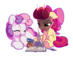 Size: 1400x1100   Tagged: safe, artist:bobdude0, apple bloom, sweetie belle, earth pony, pony, unicorn, adorabloom, angry, apple bloom is not amused, chemistry, cute, diasweetes, duo, eyes closed, female, filly, floppy ears, hoof over mouth, laughing, lying, mane on fire, potion, potion making, simple background, singed, sitting, smiling, sweetie troll, transparent background, unamused, underhoof
