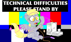 Size: 800x480 | Tagged: safe, artist:hipster-ponies, derpy hooves, pegasus, pony, computer, confused, derpy hooves tech support, female, i just don't know what went wrong, mare, no pupils, sitting, solo, technical difficulties