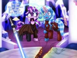 Size: 1500x1125 | Tagged: safe, artist:vavacung, starlight glimmer, trixie, pony, unicorn, ahsoka tano, anakin skywalker, clothes, cosplay, costume, dialogue, duo, female, jedi, lightsaber, now you fucked up, oh crap, oh no, oh shit, oops, raised hoof, shaking, shocked, shrunken pupils, star wars, sweat, this will end in tears and/or death, twilight's castle, uh oh, weapon, whoops, you dun goofed