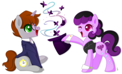 Size: 1024x621 | Tagged: artist:exceru-karina, butterfly, earth pony, female, hat, husband and wife, magic, magician, male, oc, oc only, oc:orion shadow, oc:raven shadow, one eye closed, pony, safe, stopwatch, top hat, unicorn, wink