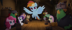Size: 1280x538 | Tagged: applejack, boyle, dragon, fluttershy, lix spittle, mullet (character), murdock, my little pony: the movie, parrot pirates, pinkie pie, pirate, pony, rainbow dash, rarity, safe, screencap, spike