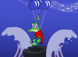 Size: 1024x750 | Tagged: alligator, artist:author92, balloon, clothes, costume, disney, fantasia, funny, gummy, hat, pet, safe, stars, the sorcerer's apprentice, wave, wizard, wizard hat