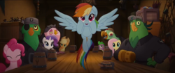 Size: 1280x540 | Tagged: applejack, boyle, dragon, fluttershy, lix spittle, mullet (character), murdock, my little pony: the movie, parrot pirates, pinkie pie, pirate, pony, rainbow dash, rarity, safe, screencap, spike